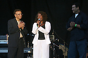 l to r: Hal Jackson, Debbie B. and Bob Lee at The 26th Annual Martin Luther King Concert Series held at Wingate Field in Brooklyn, NY on August 4, 2008..The Martin Luther King Jr. Concert Series is celebrating its spectacular 26th season with a star-studded line-up of gospel, classic soul, contemporary, Caribbean and R&B artists.