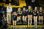 Richmond, Virginia - November 22: The Loudoun County High School bench reacts to the match point against James Woods High School on 22  at the VCU Siegel Center in Richmond, Virginia. Loudoun Country defeated James Woods 3-0  to win the 2014 Virginia 4A State Volleyball Championship. (Photo by Pete Marovich For The Washington Post)
