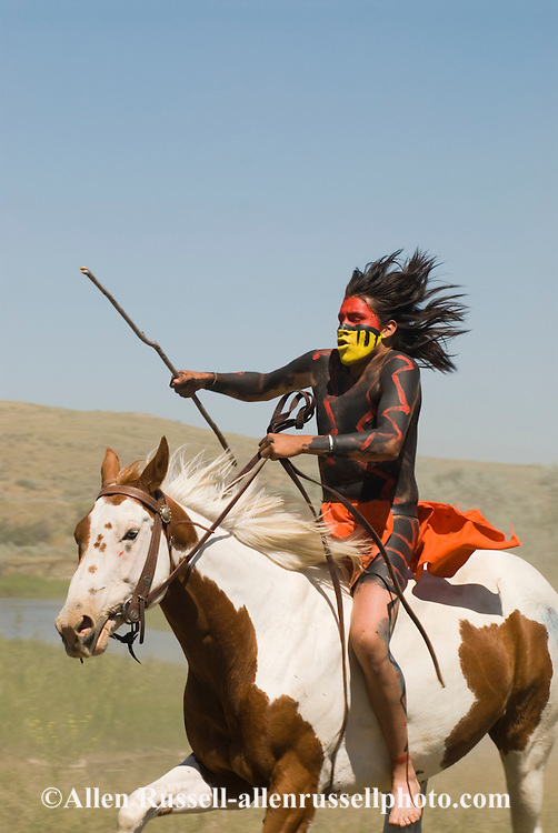 Custers Last Stand Reenactment. Crow Indian Reservation on Little Bighorn River. Warriors defeat Custer and 7th Cavalry