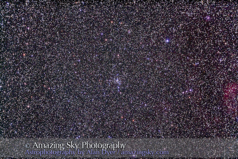 The Slingshot Cluster, NGC 2301, in Monoceros. Name comes from John Bambury's 300 List. Little nebula at upper right is NGC 2282. This is a stack of 4 x 8 minute exposures at ISO 1000 with the Canon 5D MkII and Astro-Physics Traveler 105mm apo refractor at f/5.8 with the 6x7 field flattener. Taken from Timor Cottage, Coonabarabran, Australia, December 18/19, 2012.