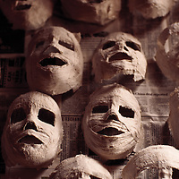 Papiermache masks drying together. Maskmaking Project, Girl Scouts