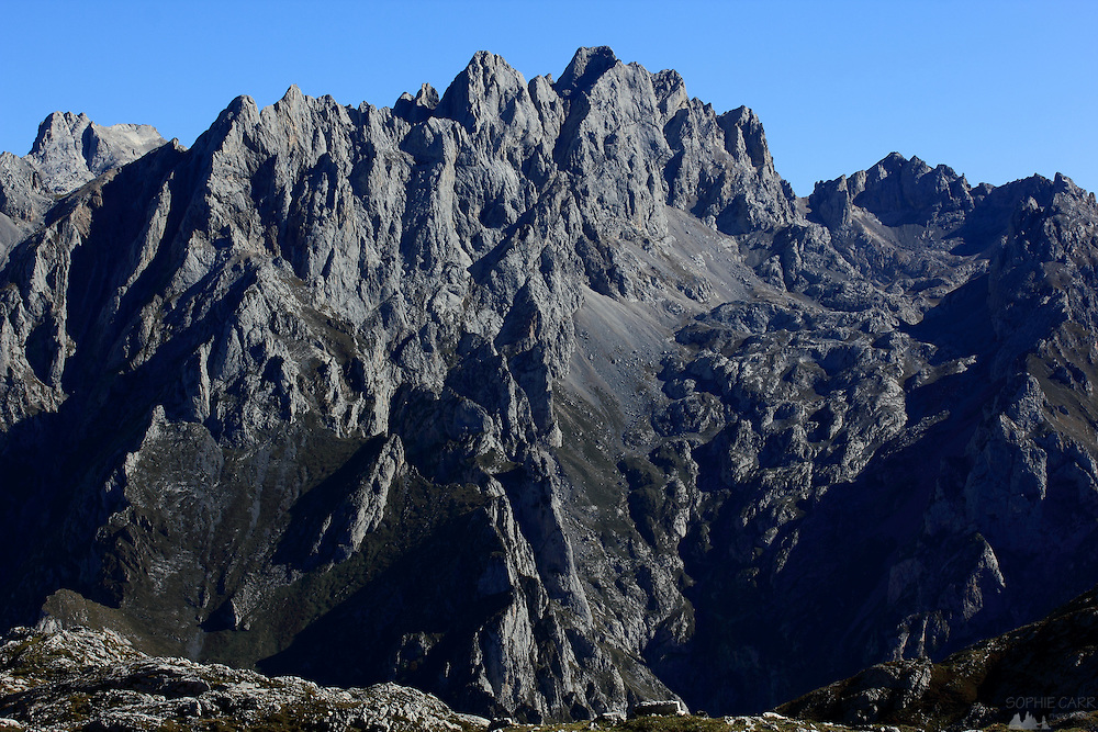 The Urrieles Peaks of the Picos de Europa close up.