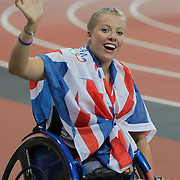 LONDON 2012 PARALYMPIC GAMES.. Hannah Cockroft after winning the T34 200m final to claim gold for Great Britain at the Paralympic Games London on September 6th 2012.