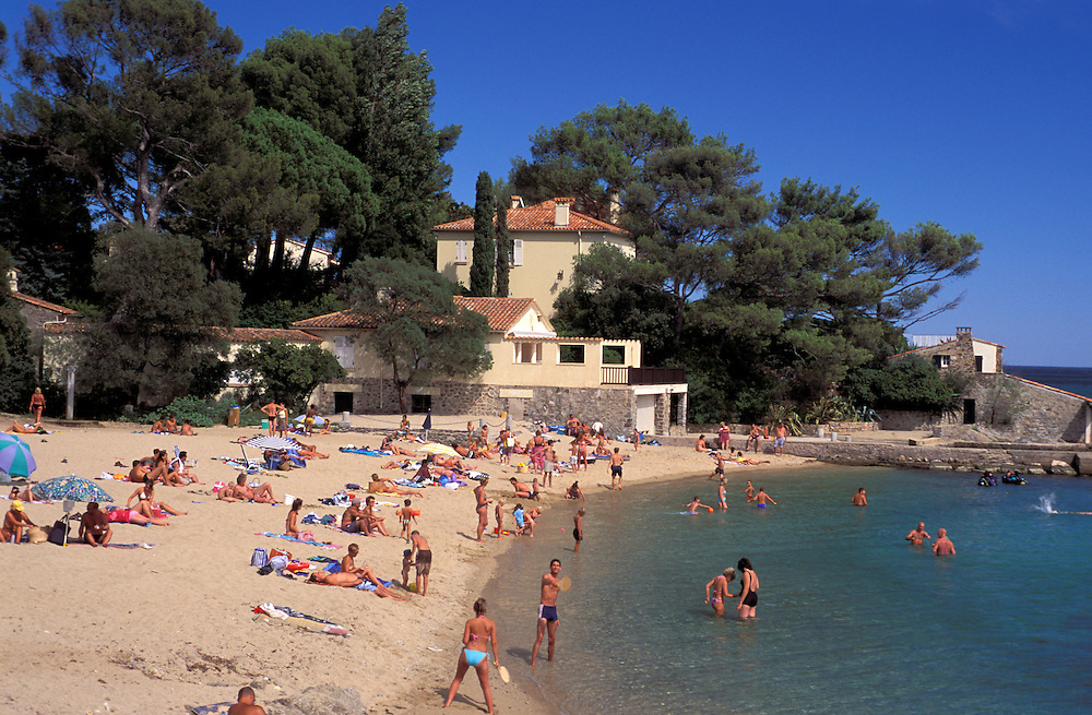People at beach at Beauvallon, Provence Alpes Cote d'Azur, France