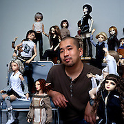 Bunmei Nakamura is a dolls collector and at the time of the photoshooting he had 13 dolls. He said he enjoyed dressing them up and they were like his friends. He worked for a company and lived in the company's dormitory in Narita.