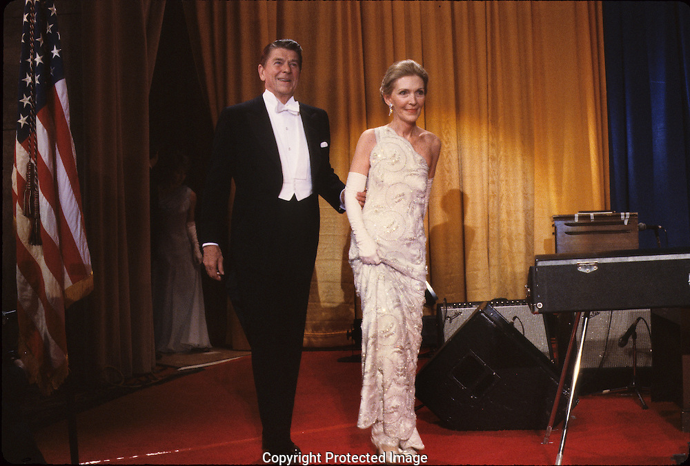 President and First Lady Nancy Reagan at an Inaugural Ball on January ...