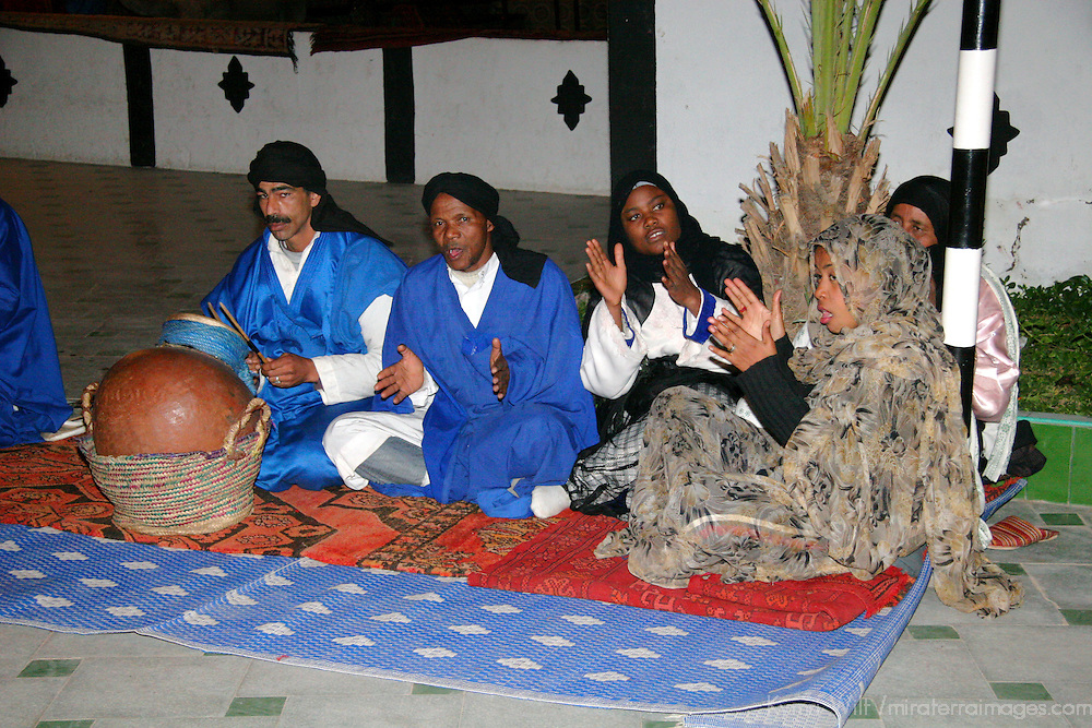 North Africa, Africa, Morocco, Marrakesh. Group of musicians from the Chez Ali Fantasia show for tourists.