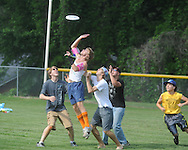 Students play frisbee during Oxford High senior field day at Stone Park in Oxford, Miss. on Wednesday, May 12, 2010.