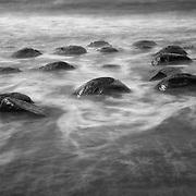Bowling Ball Beach Misting Surf - Gallaway, CA - Black & White
