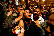Protesters in Tahrir Square react as Egyptian President Hosni Mubarak announces that he will step down on February 10, 2011. Ann Hermes/© The Christian Science Monitor 2011