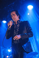 Frontman Nick Cave, of Nick Cave and the Bad Seeds, performing on stage at The Barrowlands, Glasgow, Scotland.<br /> &copy;Michael Schofield.