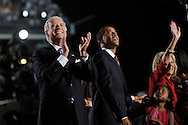 U.S. Senator Barack Obama and U.S. Senator Joe Biden wave to the crowd after he speak during his acceptance speech to become the Democratic party's candidate for president August 28, 2008 in Denver, Colorado