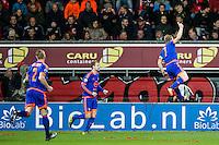 ROTTERDAM - SBV Excelsior - Feyenoord , Voetbal , Seizoen 2015/2016 , Eredivisie , Stadion Woudestein , 28-11-2015 , Speler van Feyenoord Dirk Kuyt (r) viert zijn doelpunt voor de 0-1 met Simon Gustafson (m) en Rick Karsdorp (l)