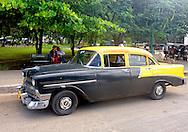 Two-tone car in Moron, Ciego de Avila, Cuba.