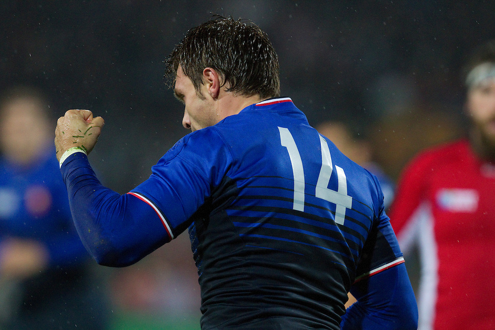 Vincent Clerc of France celebrates a try against Canada at the pool A match, 2011 Rugby World Cup, McLean Park, Napier, New Zealand, Sunday September18, 2011.  Credit: SNPA / Bethelle McFedries