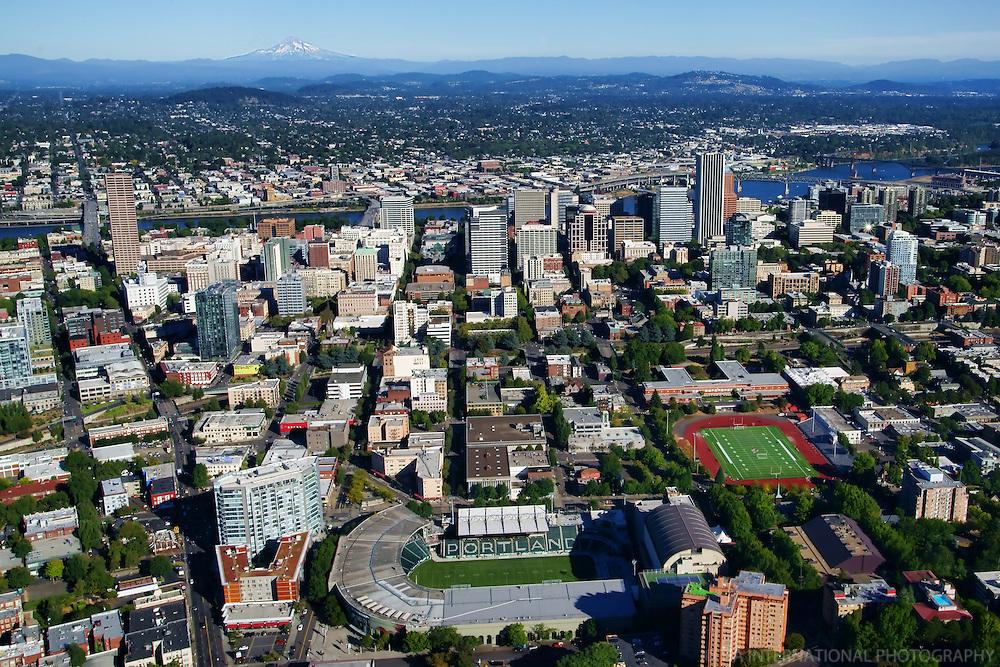 Portland Skyline featuring Jen-Weld Field & Mount Hood (2)