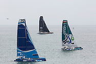 Image licensed to Lloyd Images<br /> &quot;Spindrift 2&quot; the 100ft Maxi Trimaran skippered by Dona Bertarelli &amp; Yann Guichard shown here at the start of the 2015 Rolex Fastnet Race. Cowes. Isle of Wight<br /> Credit: Lloyd Images