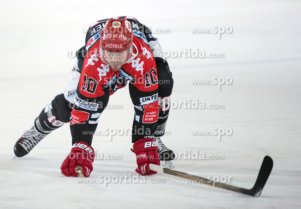 17.11.2015, Tiroler Wasserkraft Arena, Innsbruck, Österreich, EBEL, HC TWK Innsbruck die Haie vs EHC Liwest Black Wings Linz, 21. Runde, im Bild Partick Moessmer (HC TWK Innsbruck Die Haie) // during the Erste Bank Icehockey League 21st round match between HC TWK Innsbruck  die Haie and EHC Liwest Black Wings Linz at the Tiroler Wasserkraft Arena in Innsbruck, Austria on 2015/11/17. EXPA Pictures © 2015, PhotoCredit: EXPA/ Jakob Gruber