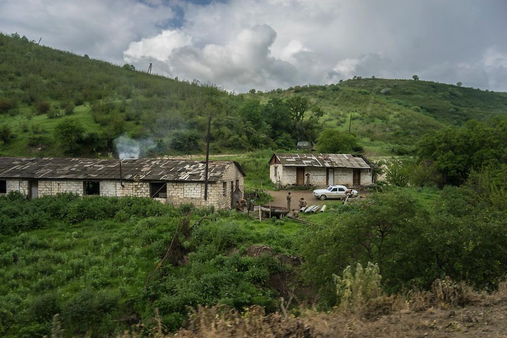 Soldiers from Nagorno-Karabakh at a small base in the Martakert area on Sunday, May 8, 2016 in Martakert, Nagorno-Karabakh.