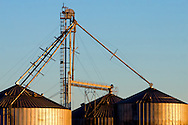 The aluminum bins of a rural grain elevator shine in the early morning sun.