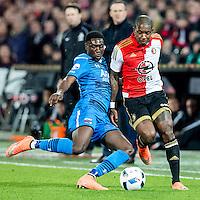 ROTTERDAM - Feyenoord - AZ , Voetbal , Seizoen 2015/2016 , Halve finales KNVB Beker , Stadion de Kuip , 03-03-2016 , AZ speler Derrick Luckassen (l) in duel met Speler van Feyenoord Eljero Elia (r)