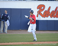 Mississippi's Matt Snyder hits a home run vs. Oakland in Oxford, Miss. on Friday, February 26, 2010. Ole Miss won 9-1.