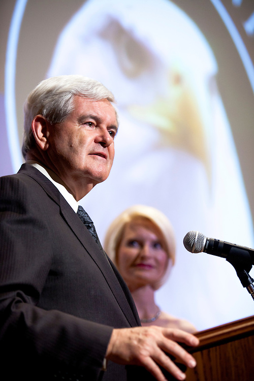 Former Speaker of the House Newt Gingrich and his wife Callista Gingrich introduce the movie A City Upon A Hill, which is hosted by the two of them, at a screening on Friday, April 29, 2011 in Washington, DC.