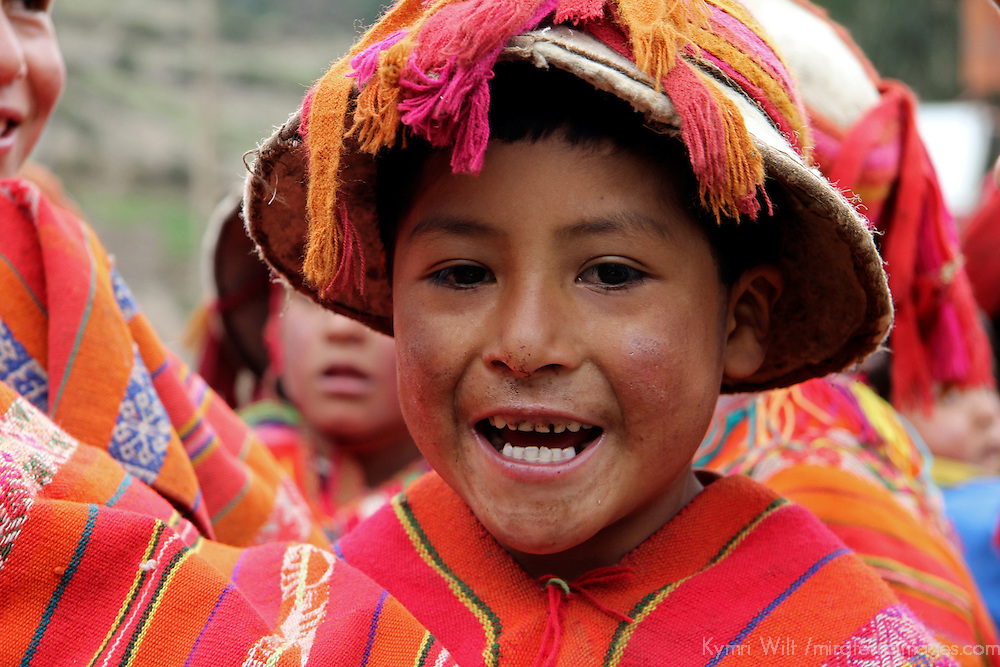 South America, Peru, Willoq. Boy in hat  of Willoq Community.