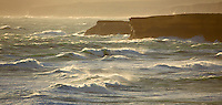 Late afternoon light on rough waves and sea off the Great Ocean Road coastline, Victoria, Australia