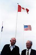 Bob Tackley (left), British D-Day veteran, in Courseulles in June 2004