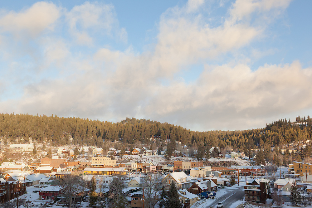 """Downtown Truckee 7"" - This photograph of a lightly snow covered Truckee, California was photographed in the early morning."