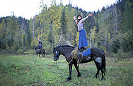 Horseback Treck to Homestead.The Pilgrim Family.Alaska.USA