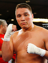 May 9, 2008; Atlantic City, NJ, USA;  2004 US Olympic team captain Devin Vargas celebrates his win over Dave Brunelli in the first round of their heavyweight bout at Bally's Ballroom in Atlantic City, NJ.