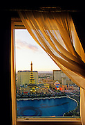 Image of Paris Las Vegas Hotel & Casino from the Bellagio Hotel, Las Vegas, Nevada, American Southwest