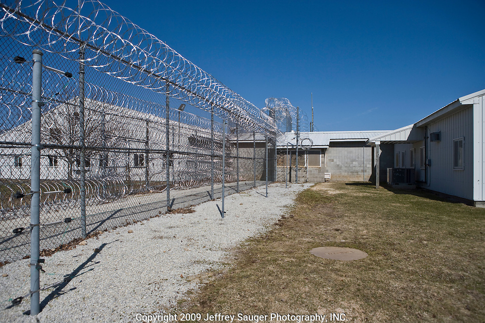 Deerfield Correctional Facility's empty yard after the last 33 of 1,200 prisoners were transported out of the closing prison in Ionia, MI, Friday, March 20, 2009. The prisoners were transferred to West Shoreline Correctional Facility in Muskegon, MI.