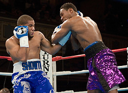 February 16, 2006 - New York, NY - Super middleweights Curtis Stevens (l) and Jose Spearman (r) trade punches during their 10 round bout at the Manhattan Center in New York.  Stevens won via 2nd round KO.