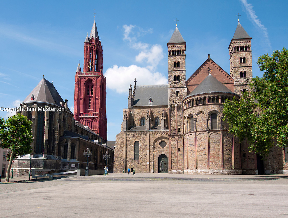 Maastricht church Saint Servaas Basiliek and on left church Saint Jan in Vrijthof square, The Netherlands