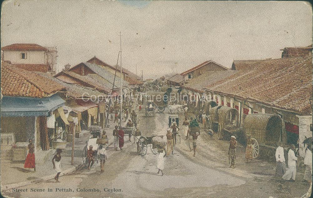 Old Post Card of Ceylon. Street scene in Pettah. Colombo.
