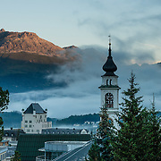 """The town of Pontresina is in Upper Engadine, in Graubünden (Grisons) canton, Switzerland, the Alps, Europe. The Swiss valley of Engadine translates as the """"garden of the En (or Inn) River"""" (Engadin in German, Engiadina in Romansh, Engadina in Italian)."""