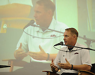 Ole Miss head coach Hugh Freeze speaks at Meet The Rebels in Oxford, Miss. on Saturday, August 18, 2012.