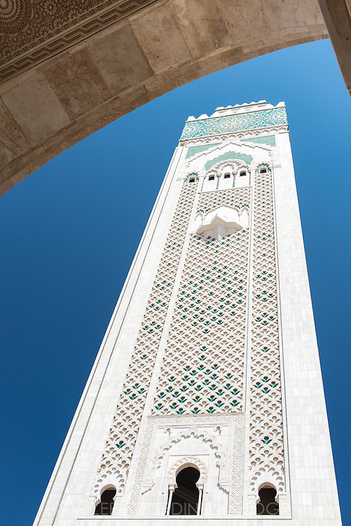 The world's tallest minaret of Hassan II Mosque in Casablanca, Morocco.
