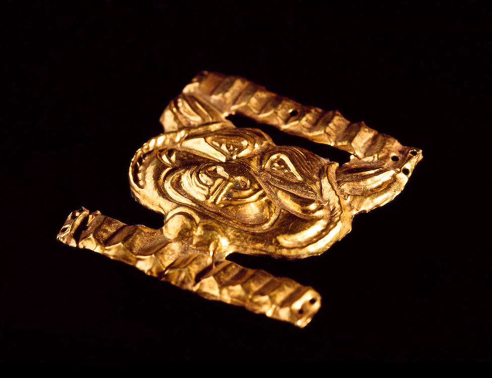 Original Gold Decoration on the caftan ceremonial dress of the Golden Man, Issiq Burial Mound, Kazakhstan