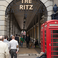 Homeless man near the Ritz in London.