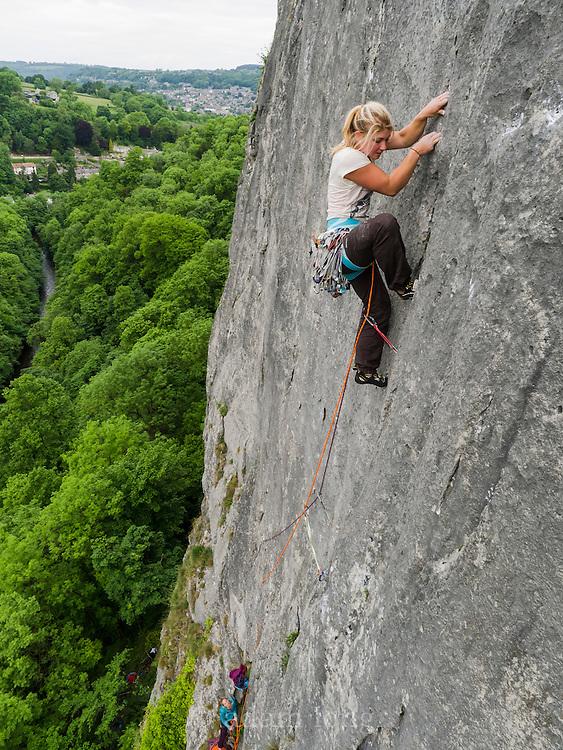 Hazel Findlay leading Flaky Wall, E4 6a, High Tor, Matlock, Peak District