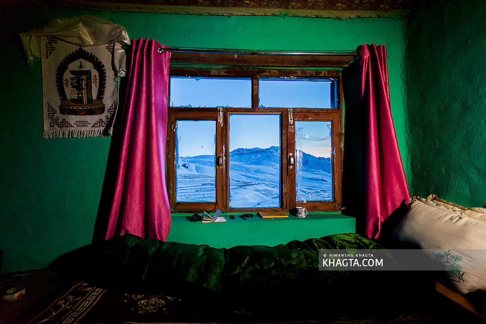 Winter view from the window of a homestay in Langza village of Spiti