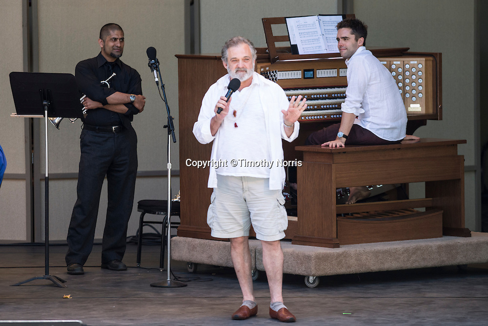 "Mark Morris prepares the audience for participation in Carl Ruggles' ""Exaltation"" at Libbey Bowl on June 9, 2013 in Ojai, California."