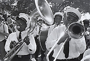 The Eureka Jazz Band plays in Congo Square at the first Louisiana Jazz and Heritage Festival in 1970 in New Orleans.