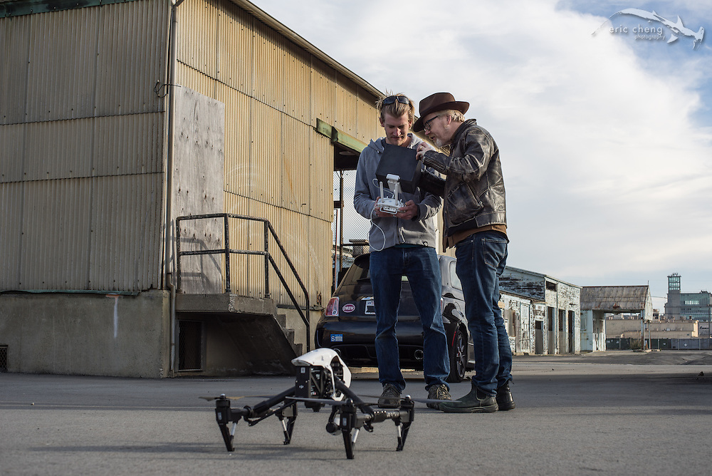 Adam Savage gives cameraman Duncan Clark a tour of the DJI Inspire 1