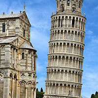 Leaning Tower of Pisa and Duomo in Pisa, Italy <br />