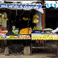 Street scene, cart selling a variety of fruits, Kariakudi, Tamil Nadu, India